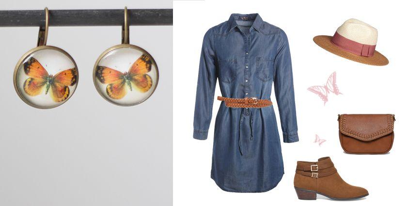 Idée de tenue jeans d'été pour femme, avec les boucles d'oreilles papillon orange de Divine et Féminine.