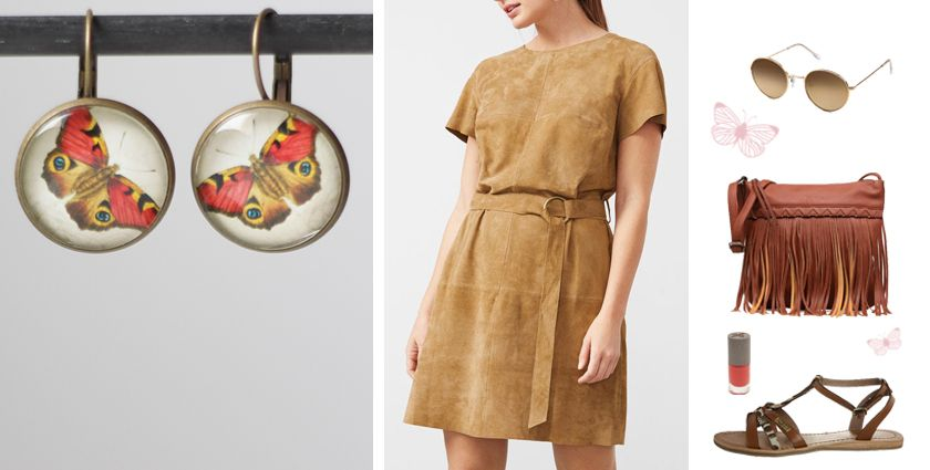 Idée de tenue ethnique chic pour femme, avec les boucles d'oreilles papillon rouge de Divine et Féminine.