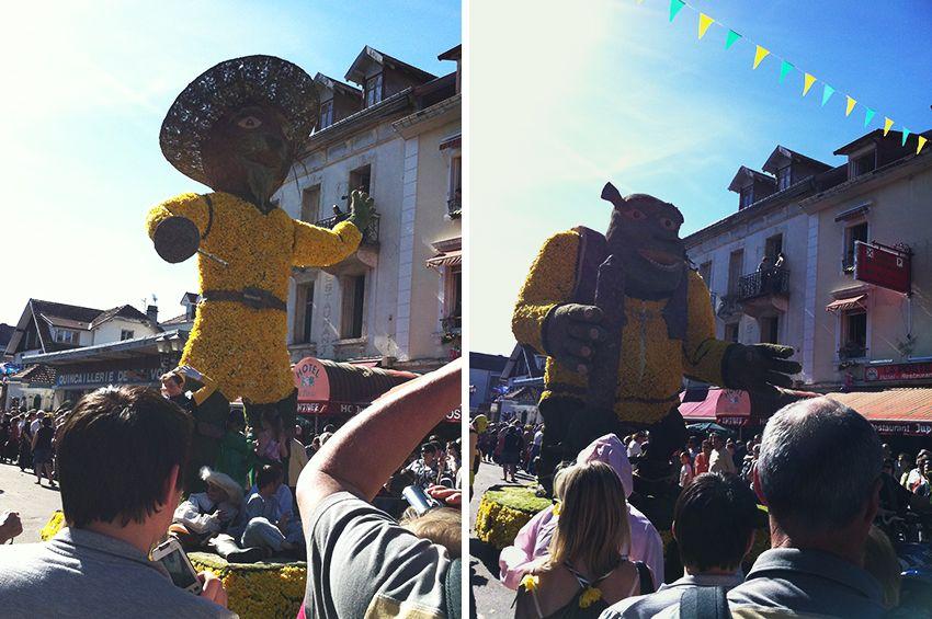 Chars chat botté et Shrek de la fête de la Jonquille à Gérardmer en 2013.