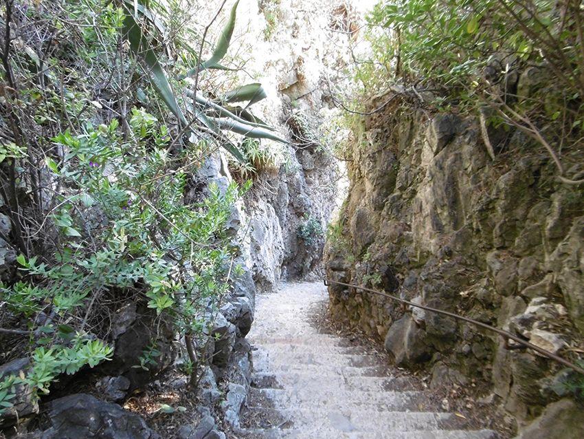 Escalier du sentier littoral de tire poil, tour du cap d'Antibes.
