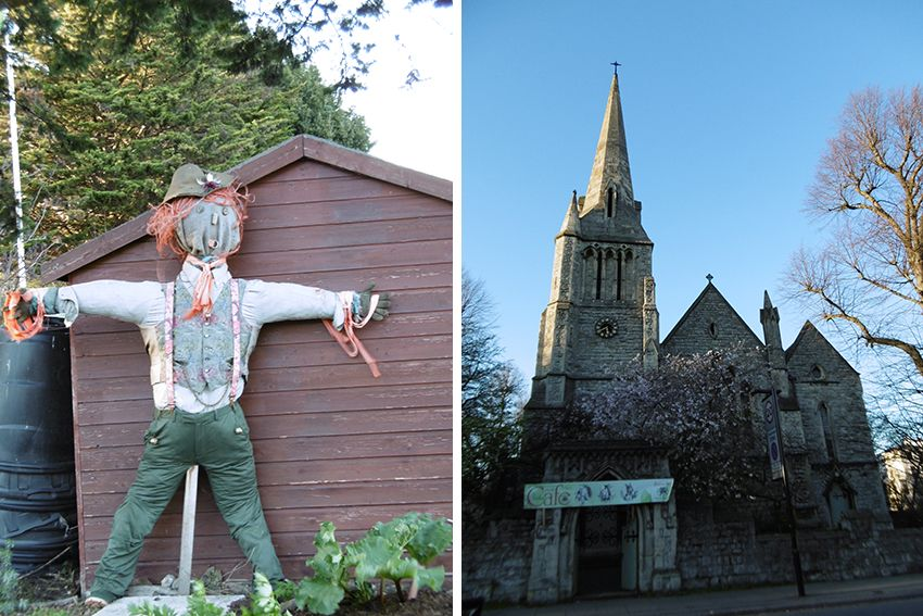 Epouvantail et église proche de Regent's Park à Londres.