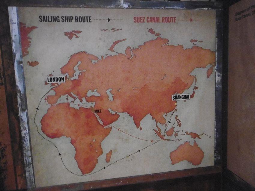 Route maritime empruntée par le Cutty Sark.