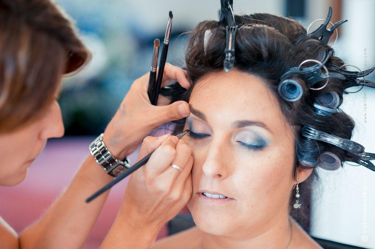 Maquillage mariée yeux bleux par Sabine beauté Antibes.