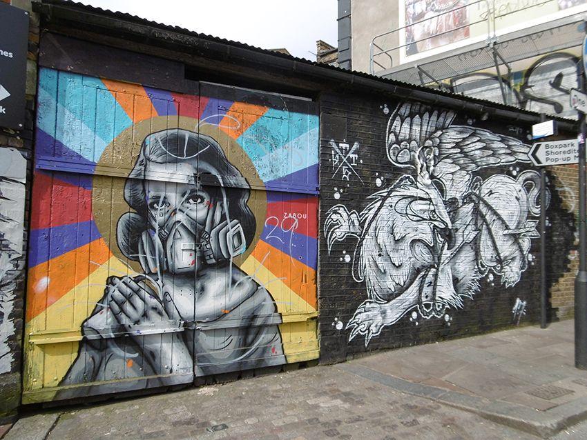Graffiti hippogriffe dans le quartier de Brick Lane à Londres.