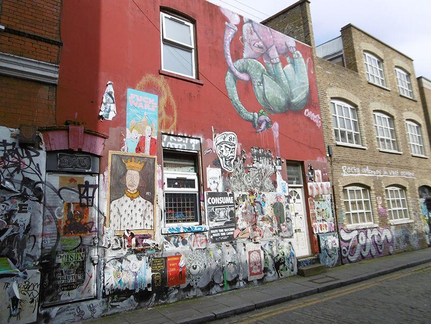 Mur de streetart dans le quartier de Brick Lane à Londres.