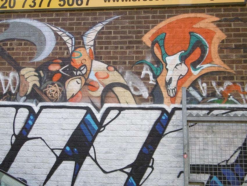Graffiti dans le quartier de Brick Lane à Londres.