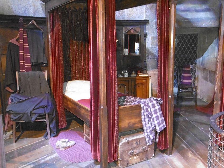 Le dortoir des Gryffondor au Studio Harry Potter de Londres.