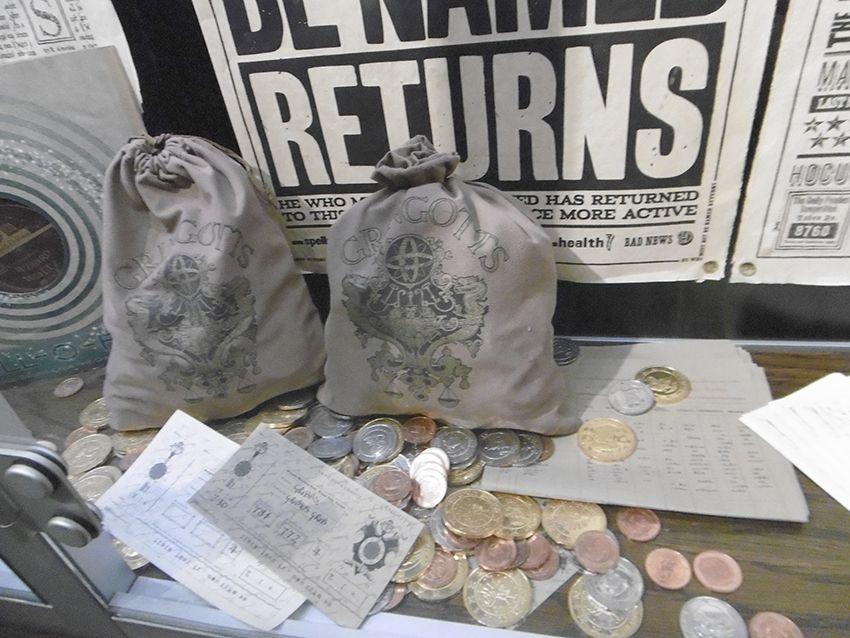 Monnaie et argent sorcier au Studio Harry Potter de Londres.