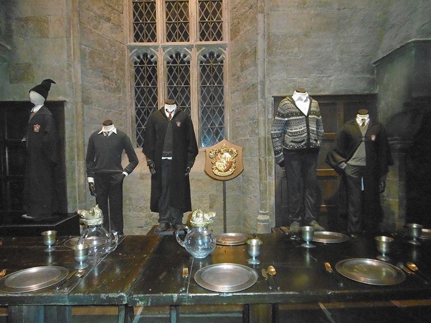 Maison gryffondor dans la grande salle au Studio Harry Potter de Londres.