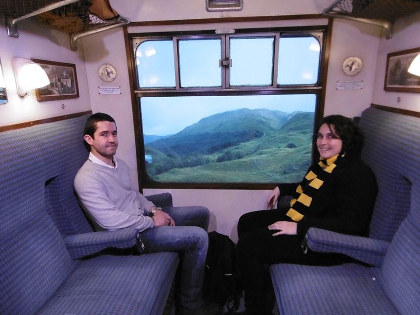 Intérieur du Poudlard express au Studio Harry Potter de Londres.