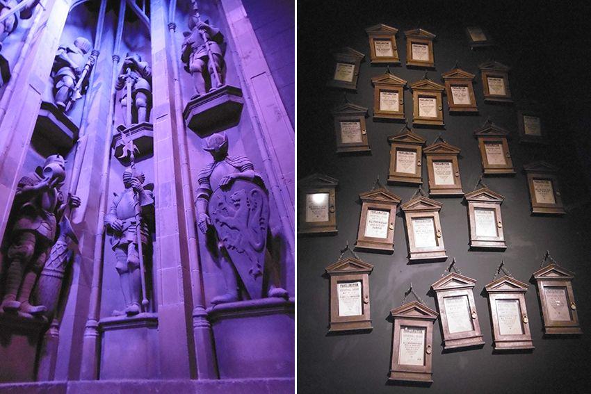 Les réglements d'Ombrage, et les statues gardiens protecteurs de Poudlard au Studio Harry Potter de Londres.