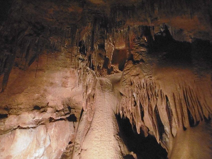Stalactites dans la grotte de Sainte Baume Obscure.