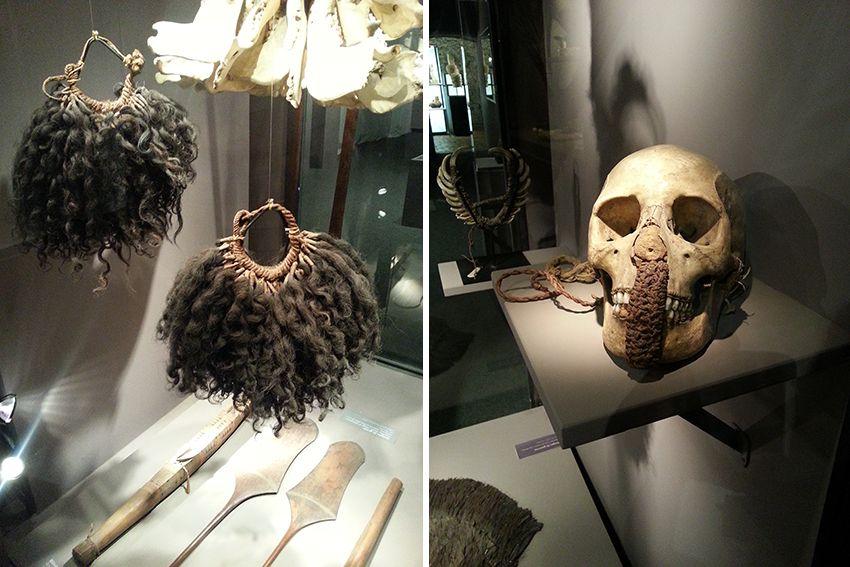 Crane, cheveux et os humains, collection ethnologique du musée de la Castre à Cannes.
