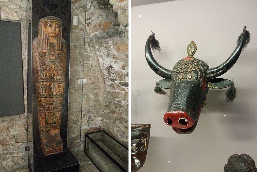 Sarcophage et masque au musée de la Castre à Cannes.