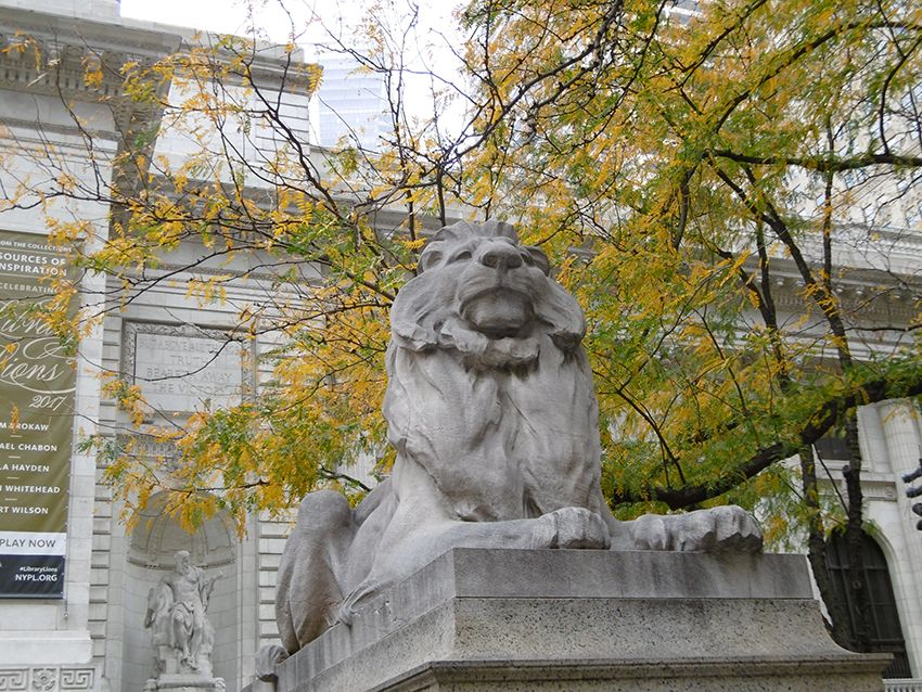 Lion devant la bibliothèque New-York Public library.