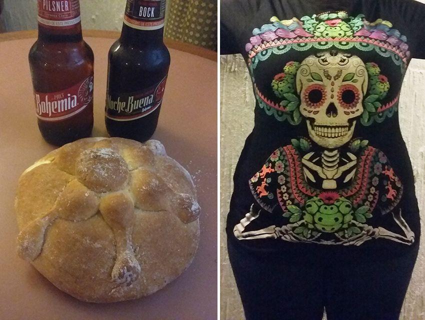 pain des morts, bières mexicaines et Catrina sur T-shirt