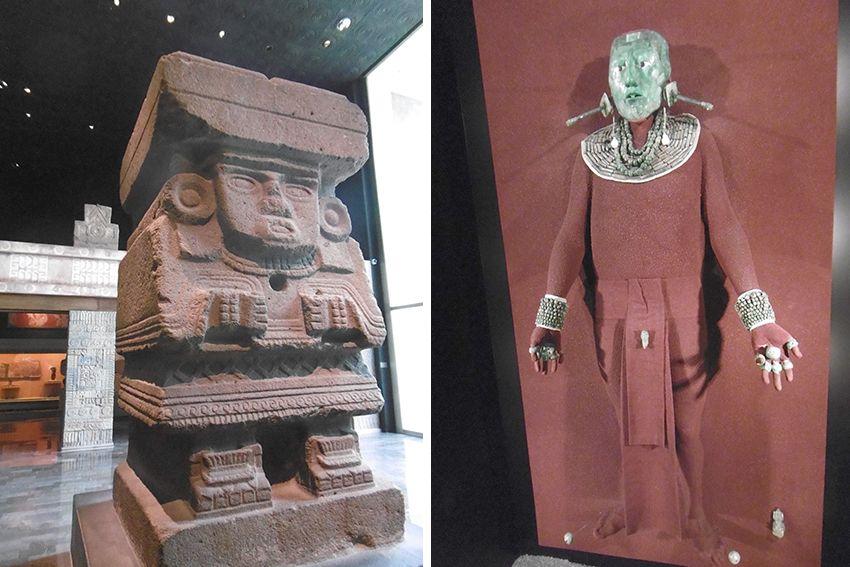 Réplique sépulture du Roi Pacal au masque de Jade retrouvée dans le temple de Palenque, exposée au musée anthropologique de Mexico