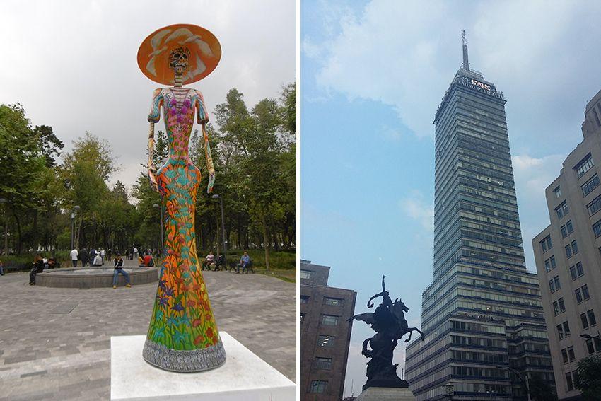 Torre latinoamericana à Mexico et catrina.