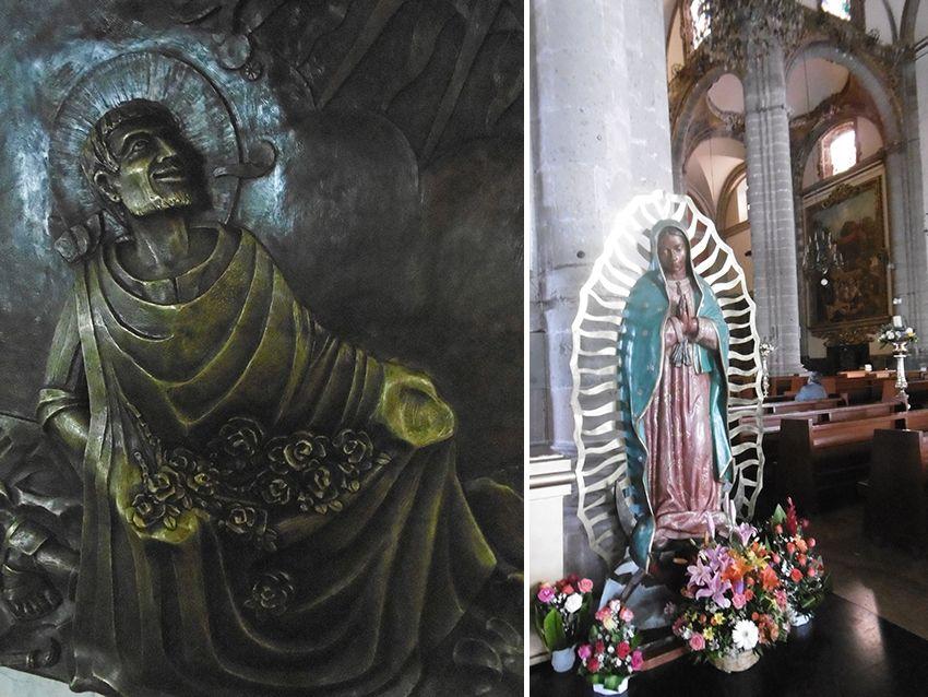 Notre Dame de Guadalupe sculpture de Juan Diego et vierge de Guadalupe.