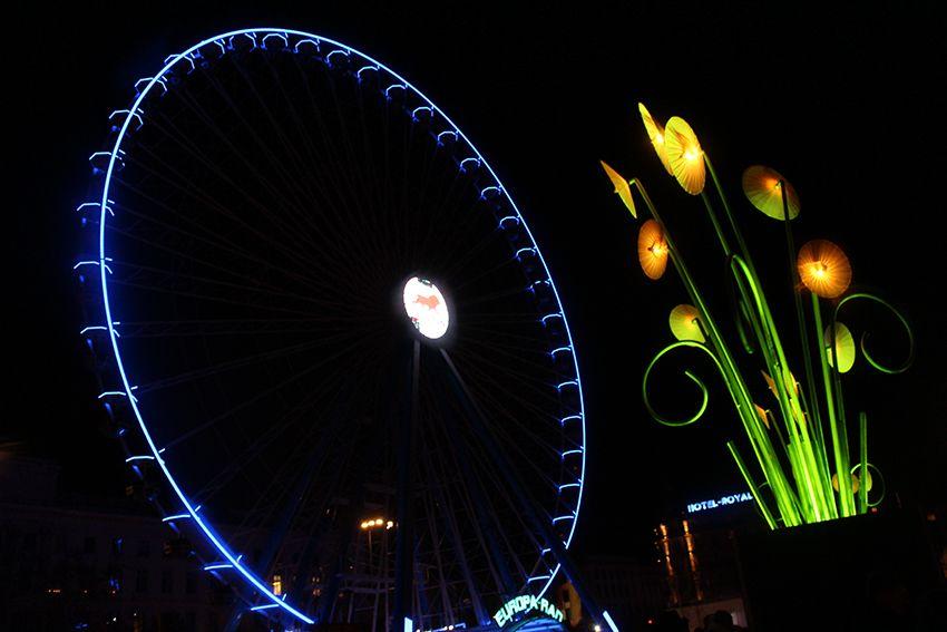 Fête des Lumières à Lyon en 2017, grande roue.