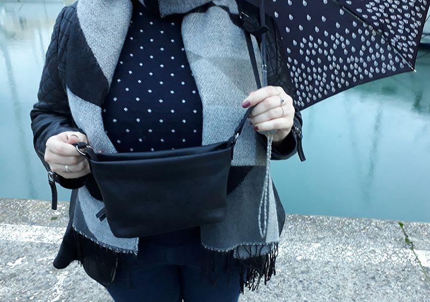 Look basique pluvieux, mode femme sous la pluie (sac Liebesking).