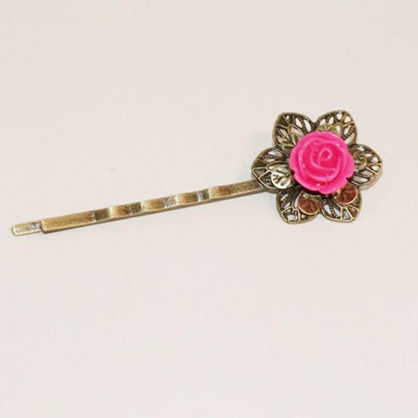 Petite barrette fleur rose foncé accessoire coiffure mariage épingle cheveux métal bronze par Divine et Féminine.