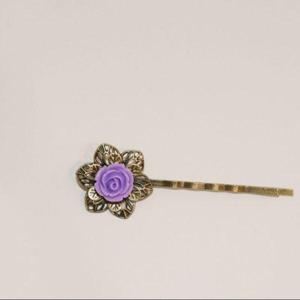 Mini barrette fleur rose violette épingle cheveux métal bronze par Divine et Féminine.