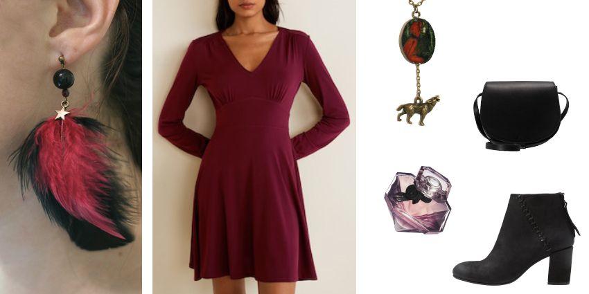 Idée de tenue féminine en noir et fuschia pour la Saint-Valentin.