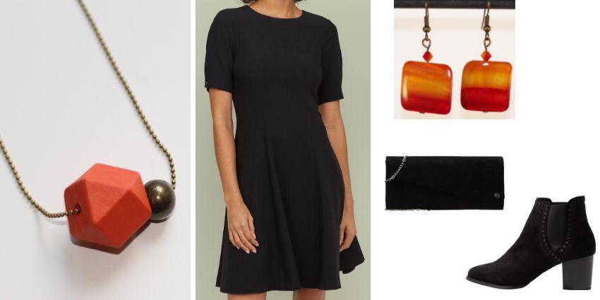 Idée de tenue féminine en noir et orange pour la Saint-Valentin.