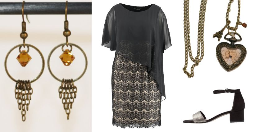 Idée de tenue féminine en noir et topaze pour la Saint-Valentin.