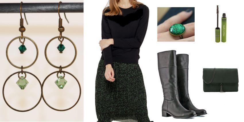 Idée de tenue féminine en noir et vert pour la Saint-Valentin.