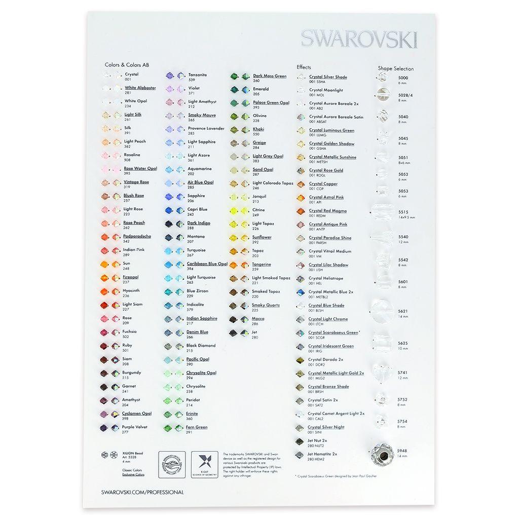 Nuancier couleurs des perles en cristal Swarovski pour les commandes de bijoux personnalisables.