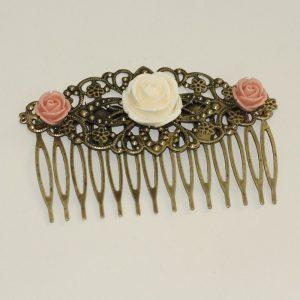Peigne accessoire coiffure mariage chignon fleur rose nude vintage par Divine et Féminine.