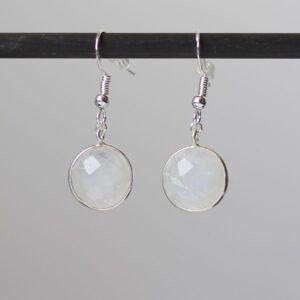 Boucles oreilles pierre de Lune en argent 925 par Divine et Féminine.