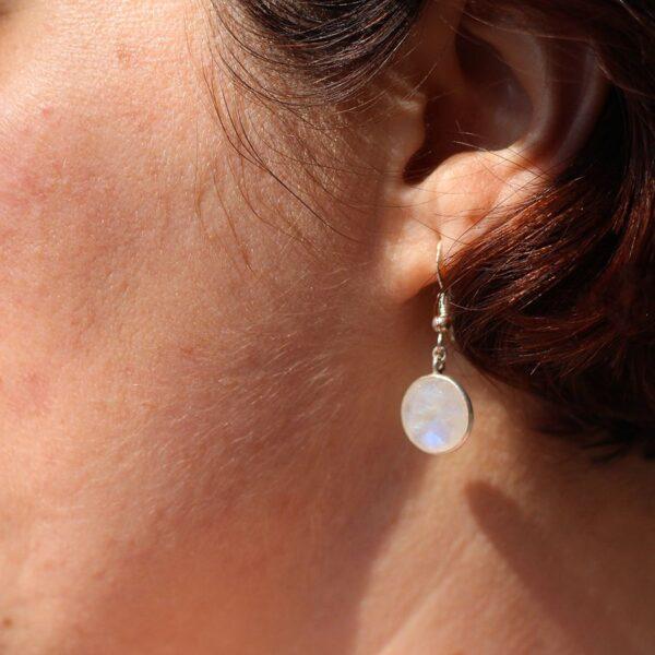 Boucles oreilles pierre de Lune et Argent 925 par Divine et Féminine.