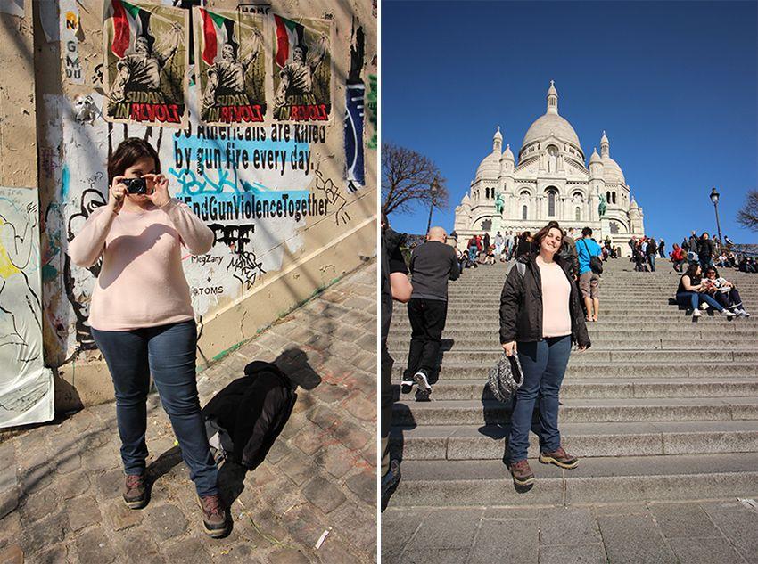 Look de parisienne avec pull en cachemire, devant le sacré cœur.