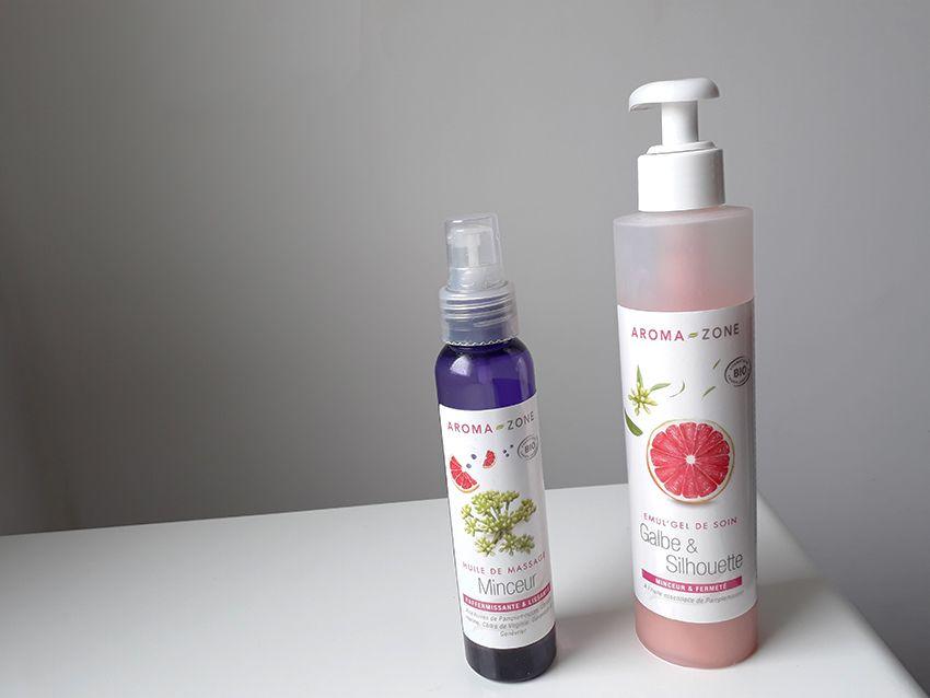 Le gel et l'huile de massage, produit minceur au naturel de chez Aroma-zone.