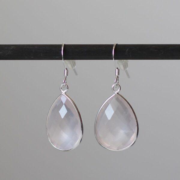 Boucles oreilles quartz rose en Argent 925 par Divine et Féminine.