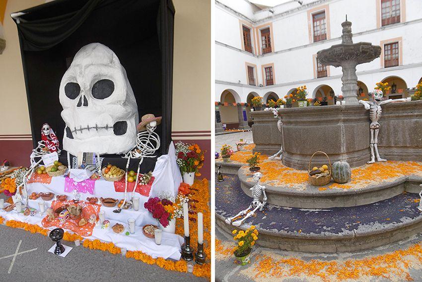 Autel du dia de los muertos à Puebla au Mexique.