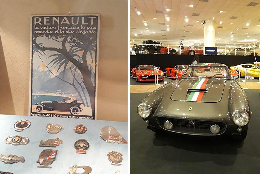 Renault et Ferrari dans le musée de l'Automobile à Monaco.