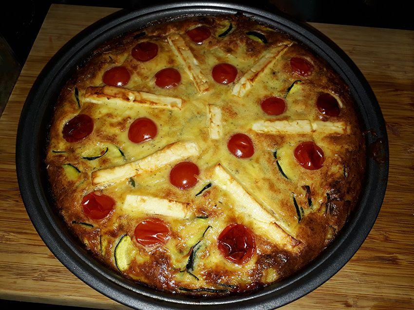 Clafoutis courgette feta tomates cerises, recette d'été.