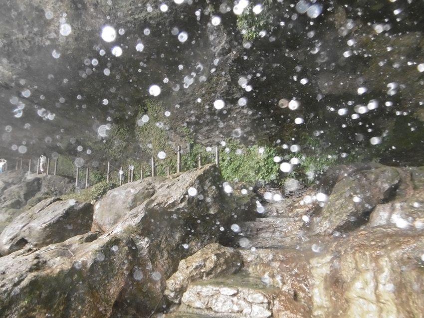 Sentier humide de la cascade de Misol-Ha dans le Chiapas au Mexique.