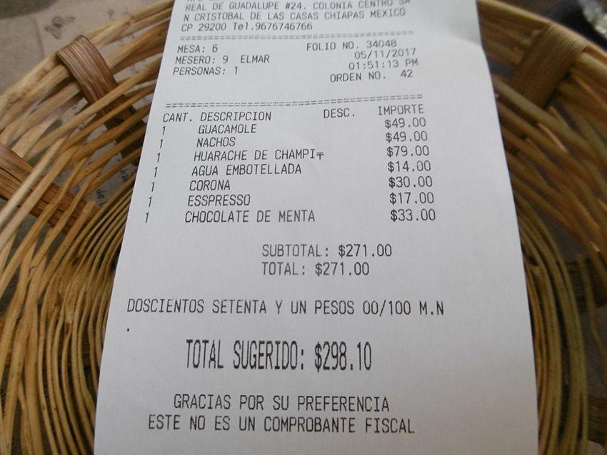 Prix d'un repas pour 2 au Mexique (à San Cristobal de las casas) équivalent à moins de 15€.