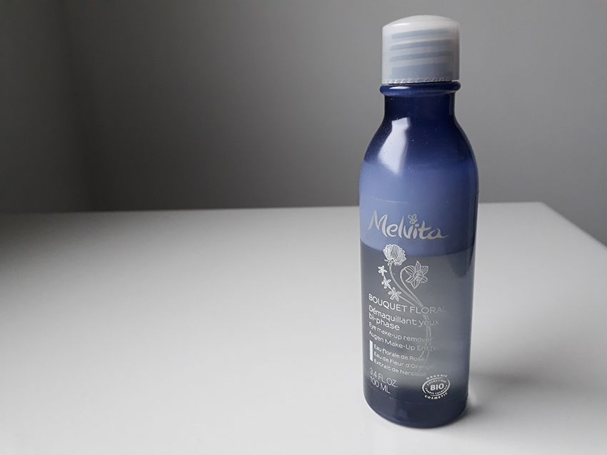 Démaquillant yeux Melvita lotion bi-phase.