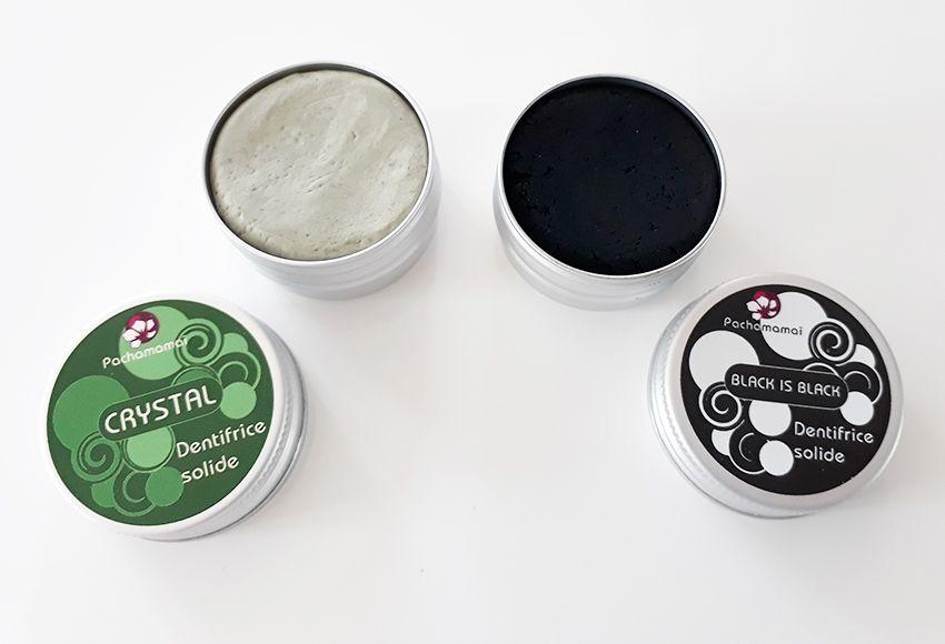 Dentifrice solide rechargeable Pachamamaï version menthe crystal et charbon black is black.
