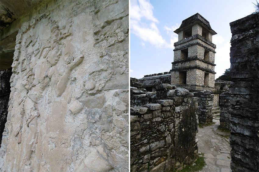 Fresque du roi Pacal et tour d'astronomie à Palenque au Mexique.