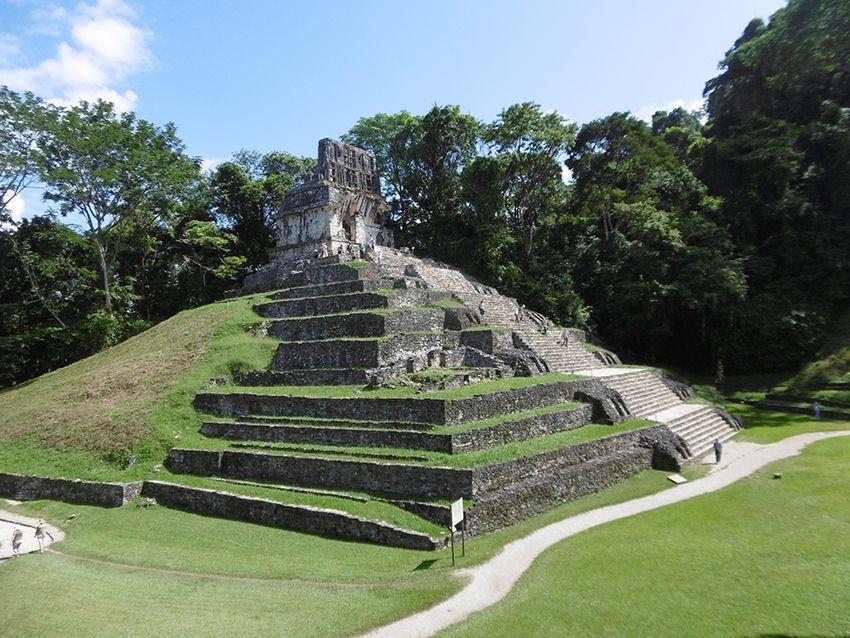 Temple, pyramide dans la nature à Palenque au Mexique.