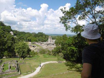 Visite des ruines de temples maya à Palenque au Mexique.