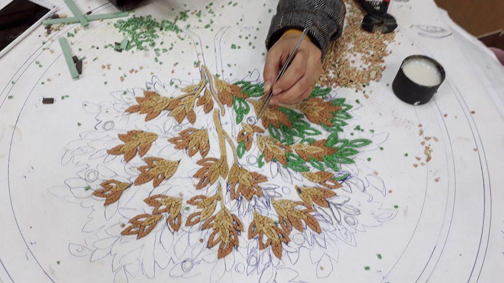 Atelier de mosaïques en céramique en Jordanie.