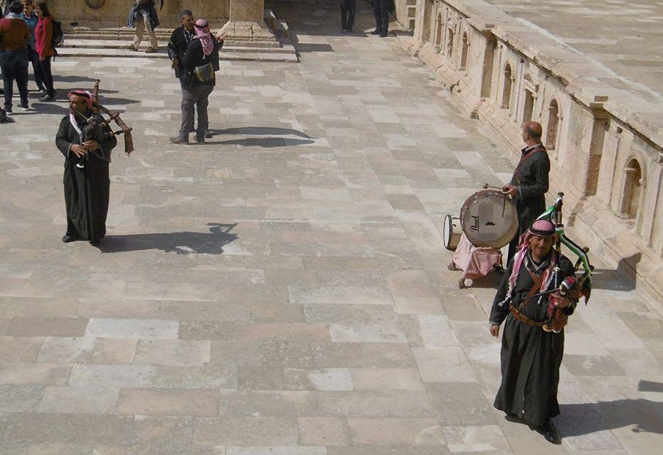 Joueurs de cornemuse à Jerash en Jordanie.